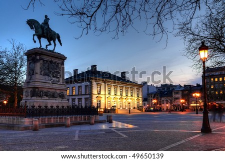 Place Guillaume II (Knuedler) Luxembourg city (HDR image) - stock photo