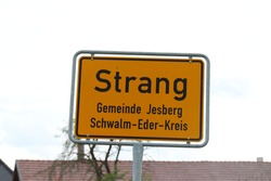 Place name sign for the municipality of Strang,