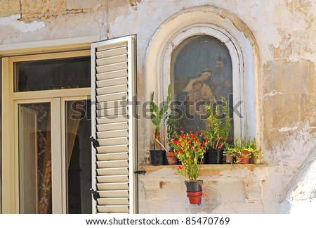 Place of worship in southern Italian street, Lecce, Italy