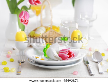 stock photo : Place seeting for Easter in fresh colors