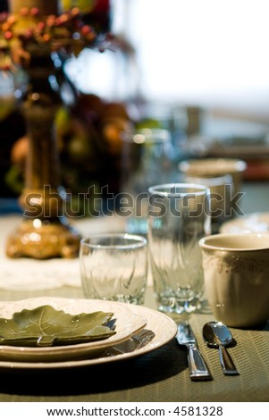 place setting at dining table