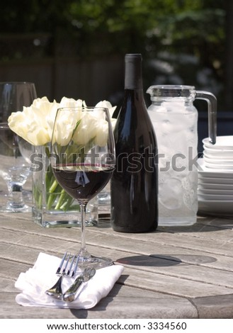 place setting at garden lunch
