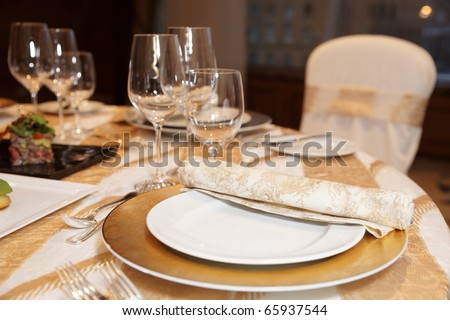 Place setting in a posh restaurant