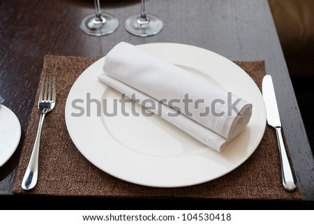 Place setting in expensive restaurant