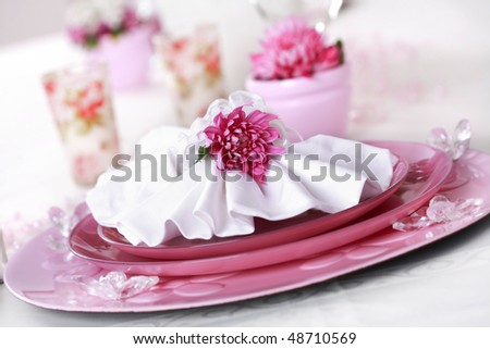 Place setting in violet and white - for Valentine or other event