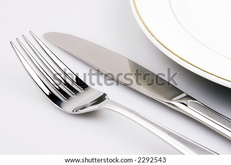 Place setting of a dinning set close up.