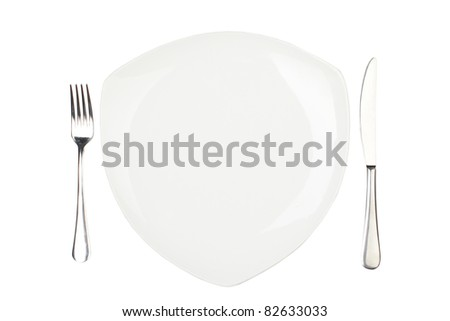 Place setting with high-gloss plate, knife & fork. Isolated on white.