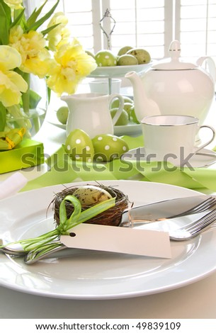 Place setting with place card set for easter brunch