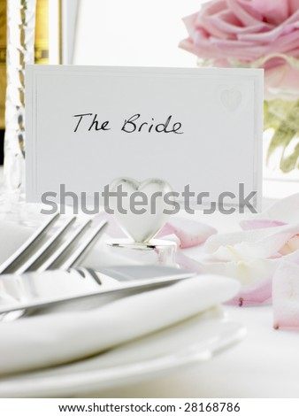 Place Settings For Bride And Groom At Reception - stock photo