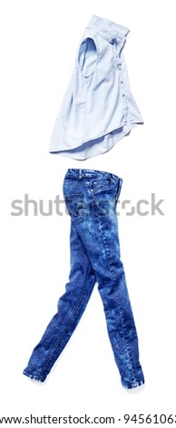 placed denim in action: female blue jeans and light bleached skirt