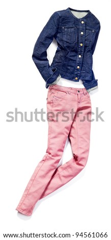 placed denim in action: female pink jeans and blue jacket - stock photo