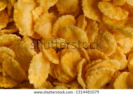 Placer of cornflakes on a white background. Cornflakes scattered on a table. Close-up top view textures  #1314481079