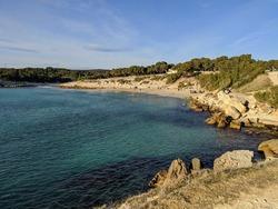 Plage de sainte croix la Couronne Martigues mediterranean sea ensuès la redonne, the blue coast french coastline tropical wave vacancy and rock