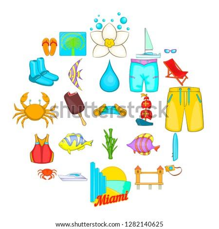 Plage icons set. Cartoon set of 25 plage icons for web isolated on white background