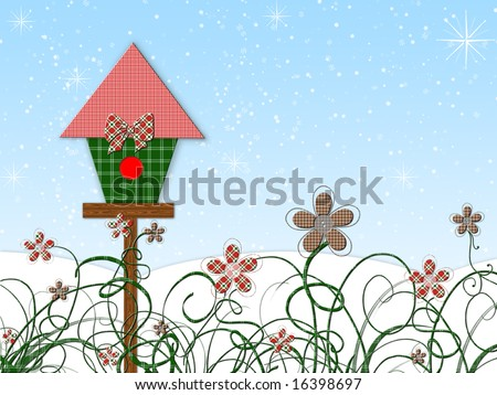Plaid birdhouse and flowers for a holiday winter scene; computer illustration