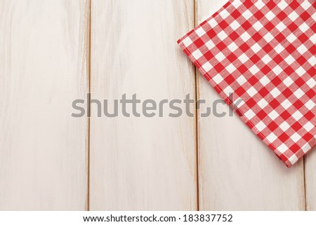 Plaid cloth on picnic table Picnic table background