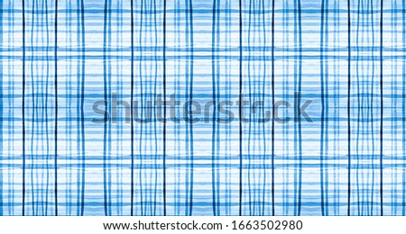 Plaid Fabric. Blue Christmas Tartan Texture. Seamless Irish Tile. Rustic Checkered Border. Color Plaid Fabric Pattern. Traditional Stripes Ornament. Gingham Twill. Plaid Fabric.