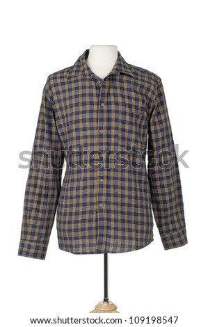 Plaid mens shirt on mannequin form on white background