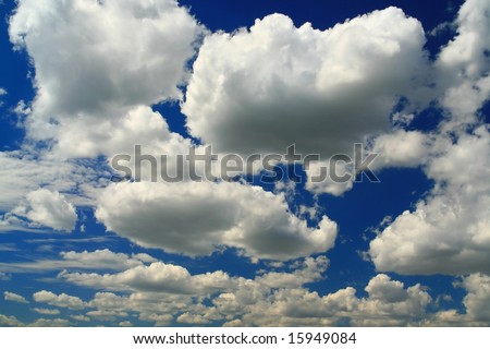 Plain blue sky and beauty white clouds