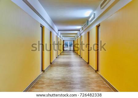 Plain corridor of a dormitory building #726482338