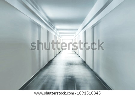 Plain corridor of a hospital motion blurred #1091510345
