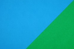 Plain green and blue background. Green and Blue cardboard. Green and Blue paper texture background. Abstract geometric diagonal flat composition. Copy spaces