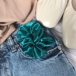 plain green blue turquoise satin scrunchie minimalist flatlay blue jeans white mules shoes