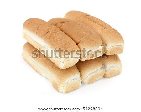 Plain hotdog buns isolated against a white background - stock photo