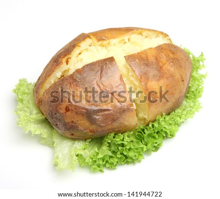 Plain jacket potato with lettuce