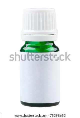 Plain label green glass medicine bottle ready to put text or picture on it for your advertisement