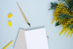 Plain paper, ink stick, yellow, watercolor, flowers of Mimosa. Copy the place for the wedding inscription or greeting card. Copy space for the calligrapher