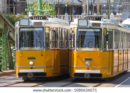 plain tram trains in the city #1080636071