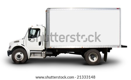 Plain white delivery truck with blank sides and blank cab, ready for custom text or logos
