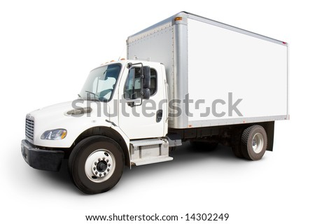 Plain white delivery truck with sides ready for custom text and logos