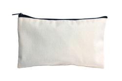 plain zipper bag for pencil case and cosmetic alphabet zipper bag over white background
