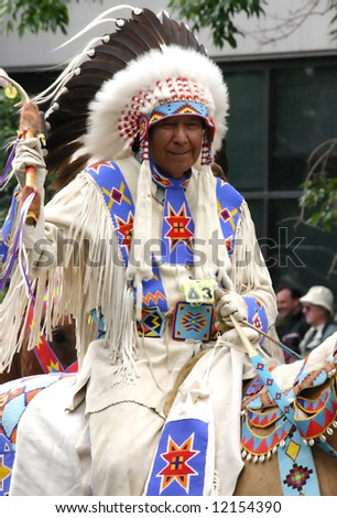 Plains Indian chief on horseback, 	Calgary Stampede Parade	Calgary	Alberta