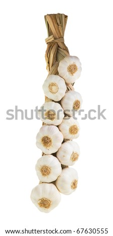 plait of garlic bulbs isolated on white background;