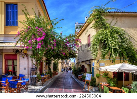Plaka,an old historical neighbourhood of Athens, clustered around the northern and eastern slopes of the Acropolis,known as the