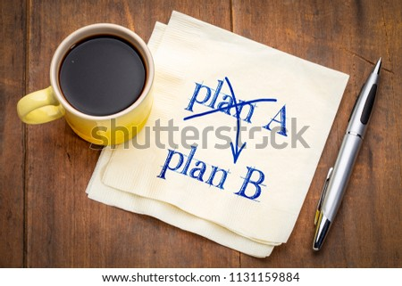 plan A and B concept - handwriting on a napkin with a cup of coffee