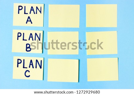 Plan A, Plan B, Plan C on multi-colored office stickers. Planning, Management, Employment, Business. concept of choice.