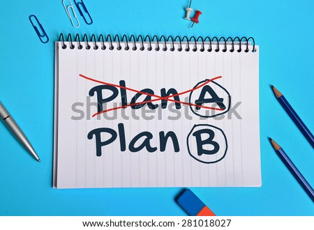 Plan A, Plan B word on notebook page
