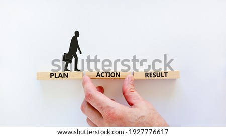 Plan, action, result symbol. Wooden blocks form the words 'plan, action, result' on beautiful white background. Businessman hand. Business, plan, action, result concept. Copy space. Stock photo ©