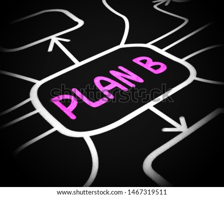 Plan B means alternative planning or scheme to be prepared. Arranging a reserve or stand by choice - 3d illustration