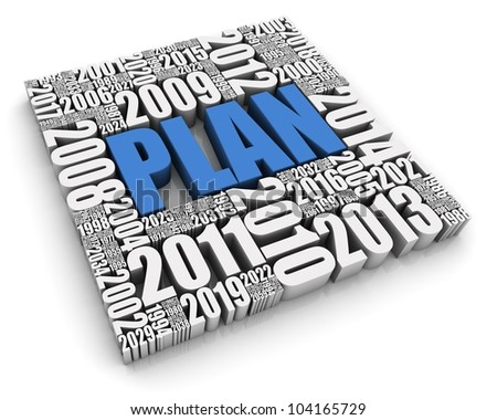 PLAN 3D text surrounded by calendar dates. Part of a series.