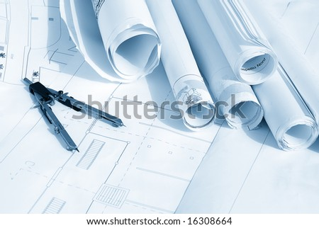 Plan drawing in blue tone