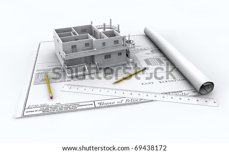 plan drawing of a house with model
