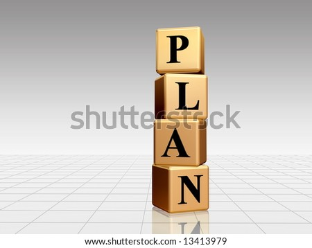 plan - golden boxes with black letters over white grey background