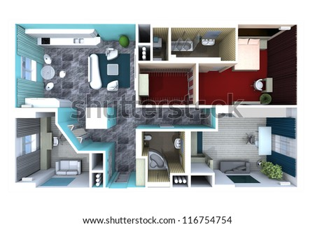 plan in the apartment, with furniture