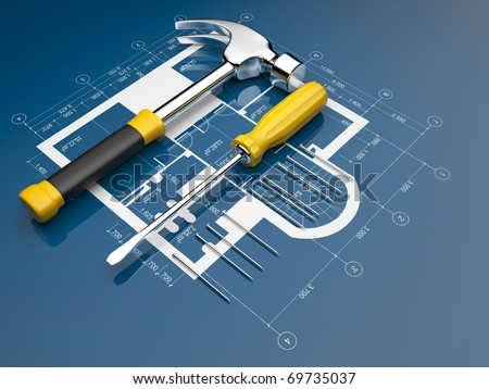 Plan of construction. 3D illustration - stock photo