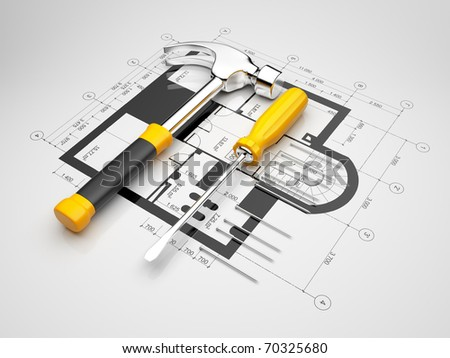 Plan of construction. 3D illustration